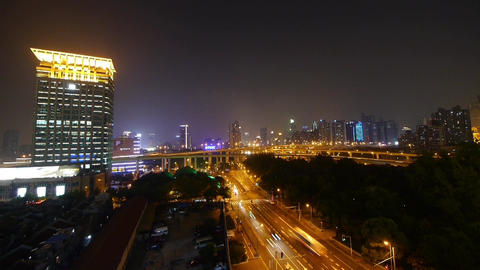 Urban Traffic At Night,Brightly Lit Shanghai City Landscape stock footage