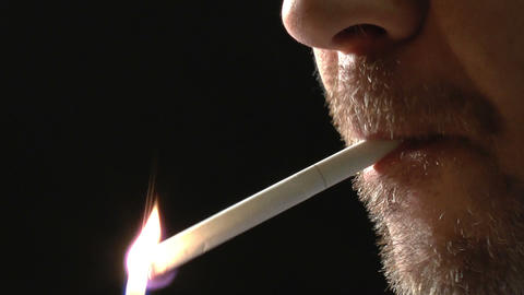 Unshaved Face Of Man, Smoking Cigarette. Closeup O stock footage