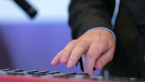 A Musician Playing A Musical Instrument stock footage