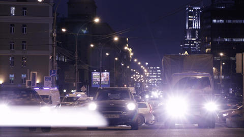 Timelapse of night traffic in Moscow Footage