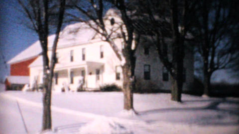 Big White Farm House In Winter 1964 Vintage 8mm Footage