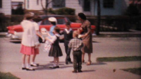 Kids Playing In The Driveway 1962 Vintage 8mm film Footage