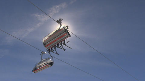 Ski lift passing by, bottom view Footage