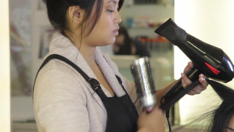 Asian Female In Hair Salon stock footage