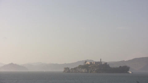 Shot Of Alcatraz Island On A Hazy Day stock footage