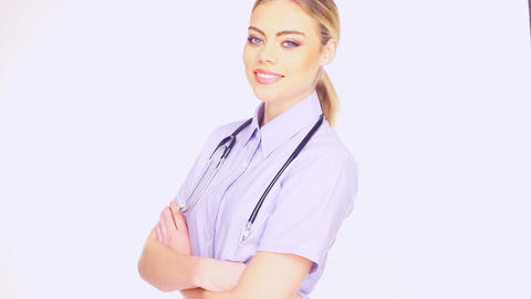 Young Female Doctor stock footage