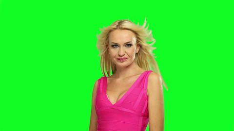 Blond Woman Dancing, On Chroma Green Background stock footage