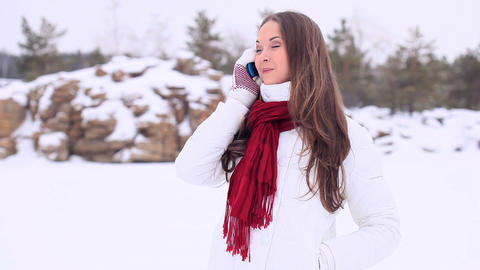 Winter Girl. Phone stock footage
