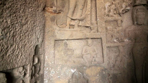Stone reliefs in Hindu temple Footage