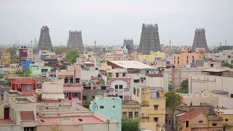 Cityscape with Hindu temples Footage