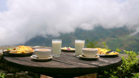 Organic Delicious Breakfast At Himalayas Mountain, stock footage
