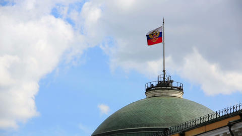 Russian flag flying over Kremlin dome Footage