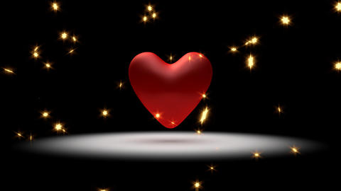 Big, Red Pulsing Heart And Stars stock footage