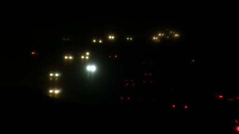 Headlights And Taillights On Busy Highway At Night (High Definition) stock footage