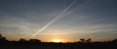Sunset Above The Forrest With Airplane Lines In Th stock footage