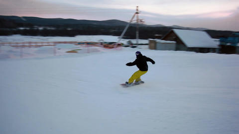 Snowboarder Jumping 360 stock footage