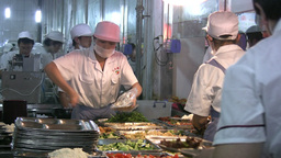 Chinese School Cafetaria, Workers, Prepare, Lunch stock footage