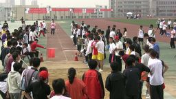 Longjump Sports Competition In China stock footage
