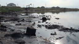 Polluted Oil Field stock footage
