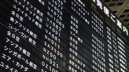 Schedule Board At Narita International Airport Tok stock footage