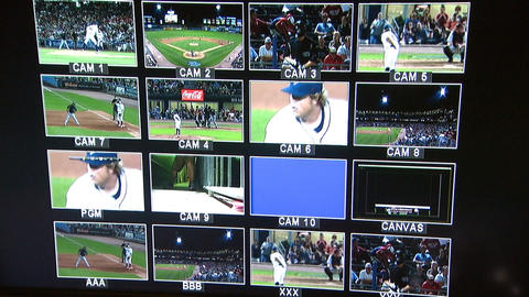 Monitors In Studio Basebal Game stock footage
