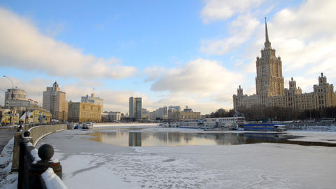 MOSCOW, RUSSIA Winter View Of Ukraina Hotel stock footage