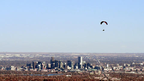 Paragliding Over Downtown Denver stock footage