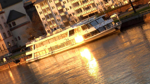 Boat on River evening sun reflection Footage