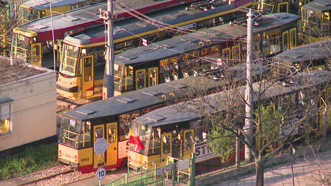 Tram Depot, Tramway Station, Train Station stock footage