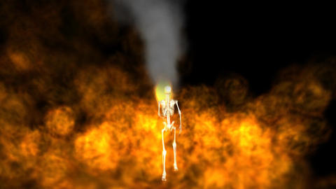 Skeleton Running With Hell Fire stock footage
