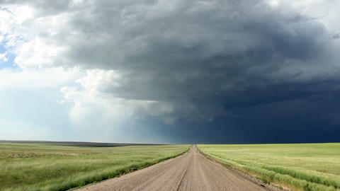 Driving Towards The Supercell stock footage