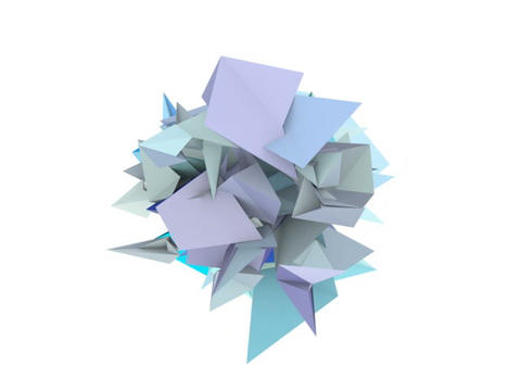 3d abstract blue spiked shape on white CG動画素材