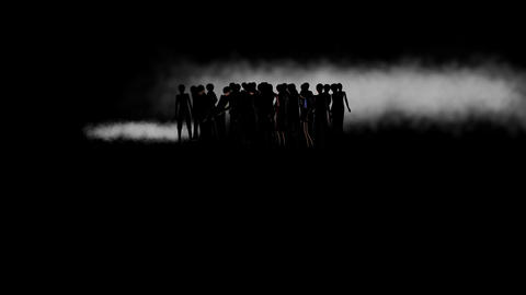 Silhouette Of People In Fog, With Spotlight stock footage