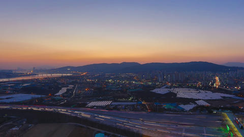 Seoul City 275 Sunset Over Rush Hour Toll Booth stock footage
