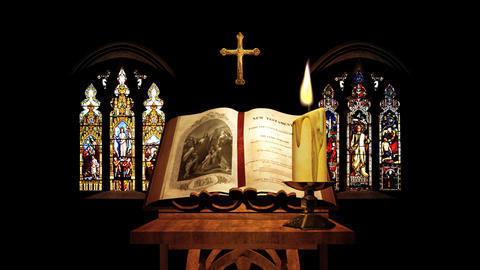 Church Bible, Candle, Cross & Stained-glass Window stock footage