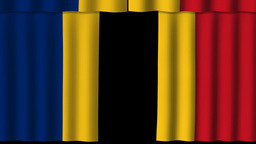 Romania Flag - Paper Curtain stock footage