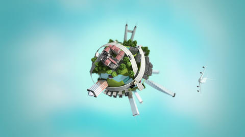 3d generated mini world, loopable Animation
