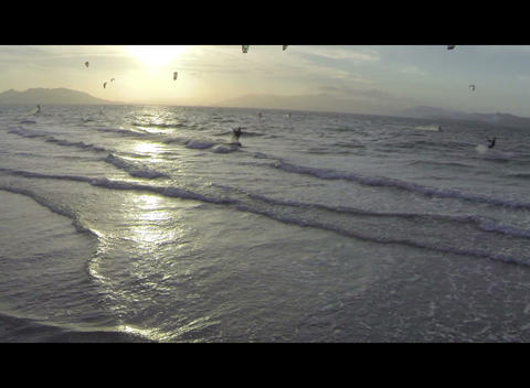 Kite Surfer At Sunset stock footage