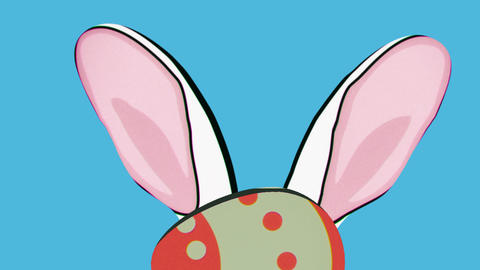 Rabbit Hiding Behind Easter Egg, Toon Style stock footage