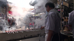 Preparing Fresh Kebab In Uzbekistan Asia stock footage
