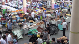 Colorful Bazaar In Central Asia stock footage