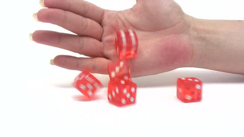 Rolling Red Dice - Slow Motion Footage