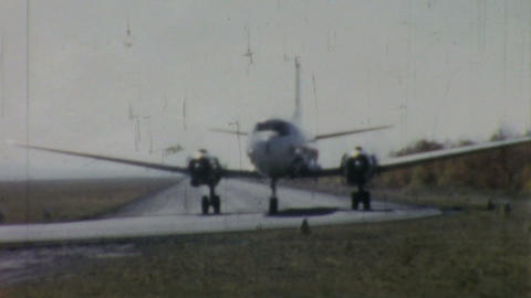 Allegheny Airlines Airplane On Runway 1958 stock footage