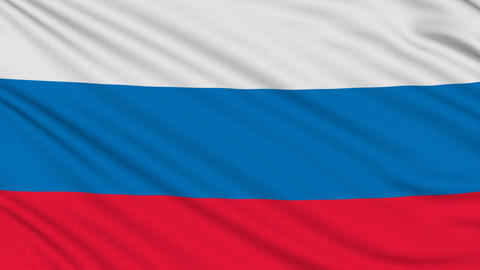 Russia Flag, With Real Structure Of A Fabric stock footage