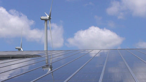 Wind Mill And Solar Panel stock footage