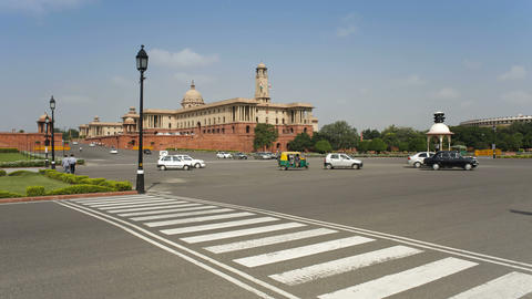 Raj Path leading to the Parliament Building, New D Footage