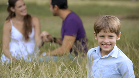 Happy Family With Son And Parents Playing At Park stock footage