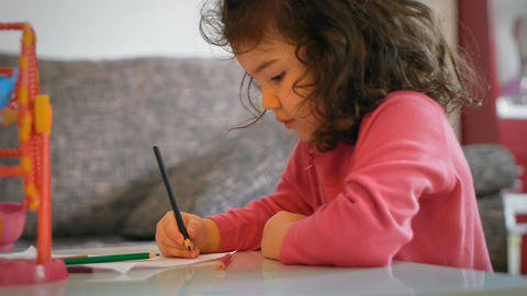 Little Girl Drawing Footage