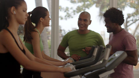 Friends Having Fun In Fitness Club stock footage