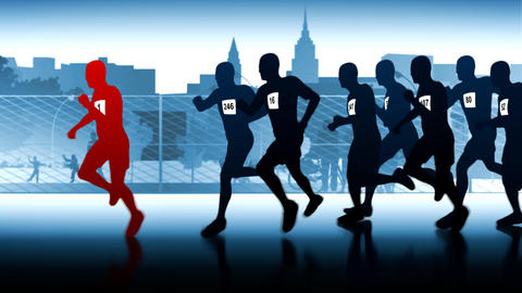 silhouettes of runners. Winner in front of the group Animation
